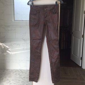 Cache printed brown skinny jeans NWT 0